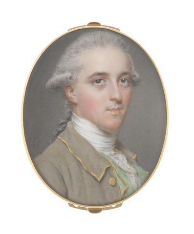 John Smart (British, 1742-1811) Sir George Pauncote-Bromley (1753-1808), 2nd Baronet, wearing grey jacket with gold edge and buttons, mint green waistcoat, white stock and frilled lace cravat, his powdered hair worn en queue and tied with a black ribbon bow