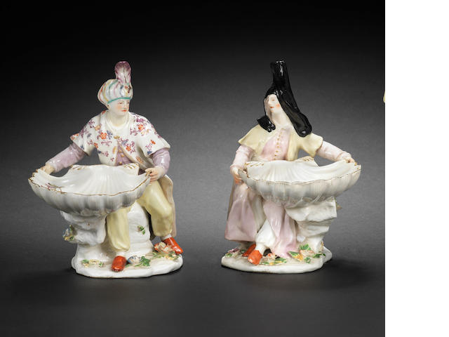 A pair of Chelsea figural salts, circa 1755