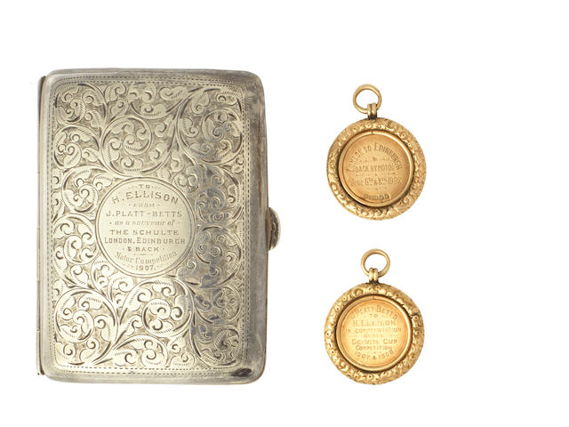 A 1907 Schulte Trophy London-Edinburgh motorcycle trial silver cigarette case and 1908 gold medal,