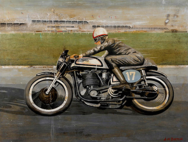 The Aintree Racecourse motorcycle race painted advertising sign,