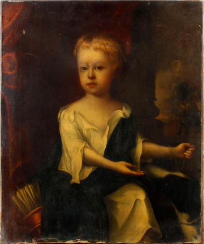 Follower of Sir Peter Lely Portrait of Lord Kensington<BR />Oil on canvas (A/F)<BR />76 x 63cms