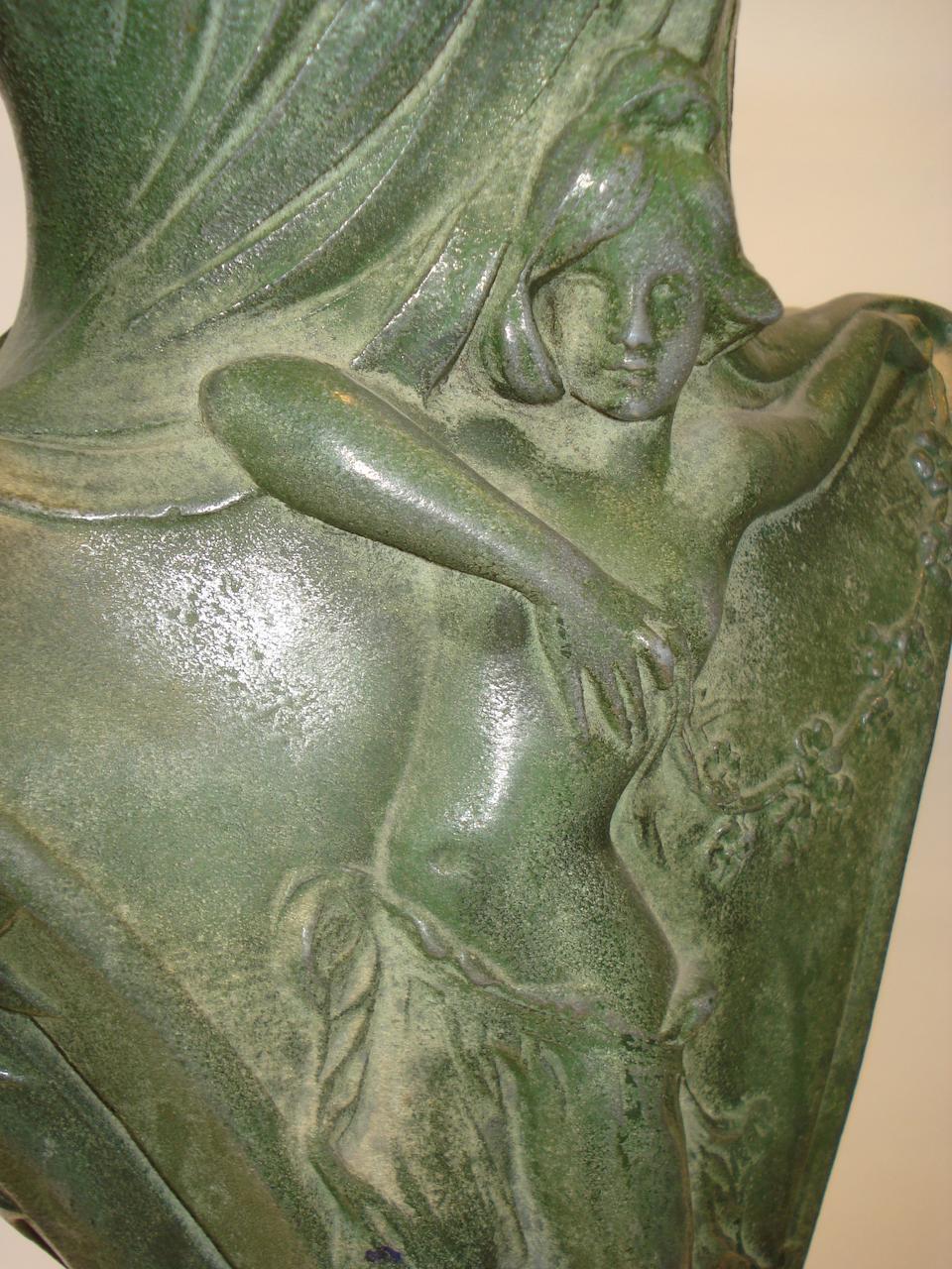 European an Art Nouveau Figural Metal Vase, circa 1900