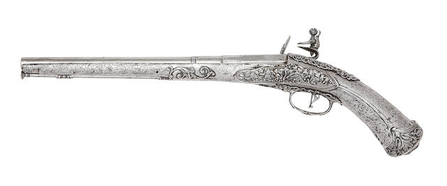 A Very Rare Brescian 30-Bore All-Steel Flintlock Holster Pistol