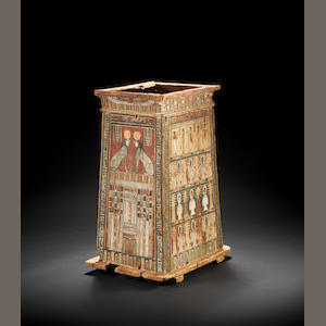 A large Egyptian wood canopic jar box