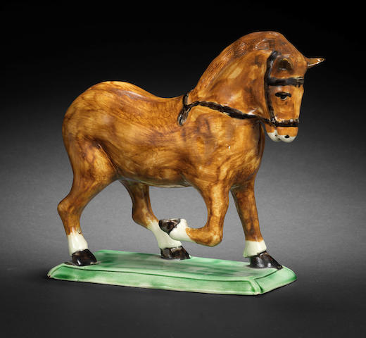 A rare Pratt Ware model of a heavy horse, late 18th century