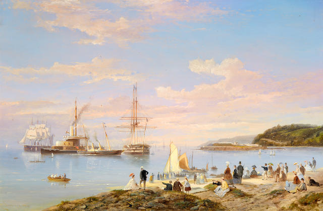 Pieter Cornelis Dommersen (Dutch, 1834-1908) A squadron of Her Majesty's ships – old and new – lying in Asia Pass, Plymouth Sound, with spectators on The Hoe enjoying the spectacle and with Mount Edgcumbe looming up behind Drake's Island beyond