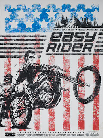 An 'Easy Rider' limited edition re-release film poster, sponsored by Harley-Davidson,