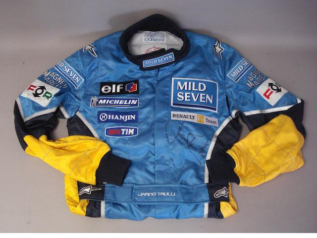 Jarno Trulli promotional suit, signed by the driver,