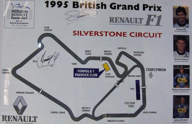 A large, signed Renault Williams F1 map of Silverstone Race Circuit, 1995,