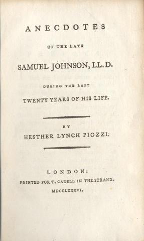 JOHNSON (SAMUEL) - HAWKINS (JOHN) The Life of Samuel Johnson, 1787; and 2 others