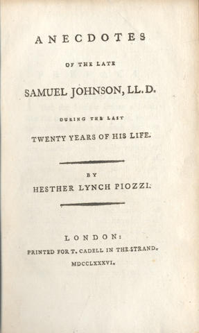 JOHNSON (SAMUEL) - HAWKINS (JOHN) The Life of Samuel Johnson, 1787; and 2 others