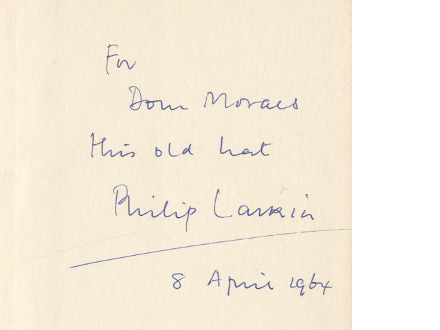 "LARKIN (PHILIP) The Less Deceived, fifth edition, INSCRIBED BY THE AUTHOR ""For Dom Moraes this old hat Philip Larkin/ 8 April 1964"", 1962; and 8 others"