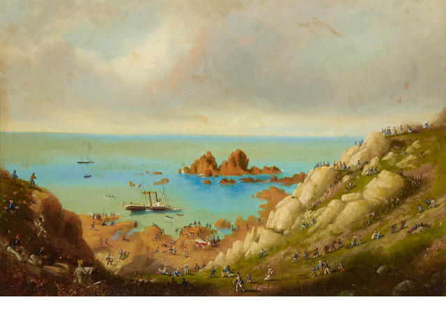 Philip John Ouless (British, 1817-1885) The wreck of the Channel Islands' packet steamer Express in St. Brelade's Bay, Jersey, 20th September 1859
