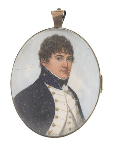 Frederick Buck (Irish, 1771-circa 1840) A Naval Officer, wearing dark blue coat with standing collar and white facings, white waistcoat, frilled chemise and black stock