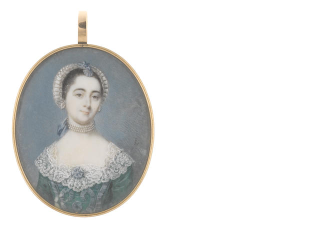 Luke Sullivan (Irish, 1705-1771) A Lady, wearing green dress embellished with dark blue ribbons and white lace collar, multi-stranded pearl choker tied with a blue ribbon behind her neck, matching earrings, her hair upswept beneath a white lace mob cap dressed with matching blue ribbon