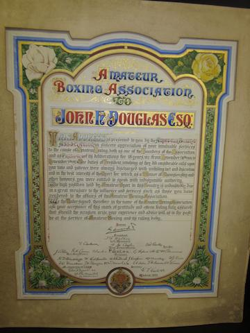 Illuminated appreciations awarded to George Henry Vize president ABA heavyweight champion, John H Douglas president ABA