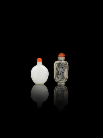 An inscribed white jade snuff bottle and a mottled grey jade 'rocks and bamboo' snuff bottle 19th century