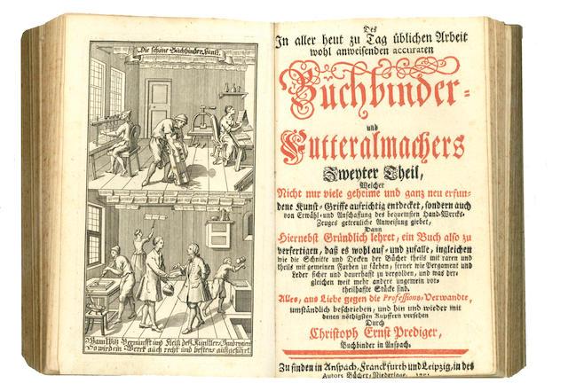 PREDIGER (CHRISTOPH ERNST) Der in aller heut zu Tag üblichen Arbeit wohl anweisende accurate Buchbinder und Futteralmacher welcher lehret, 4 vol. in one, 1741-1753