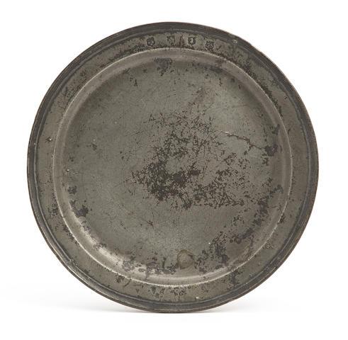 A Charles II narrow-rim pewter plate, circa 1680