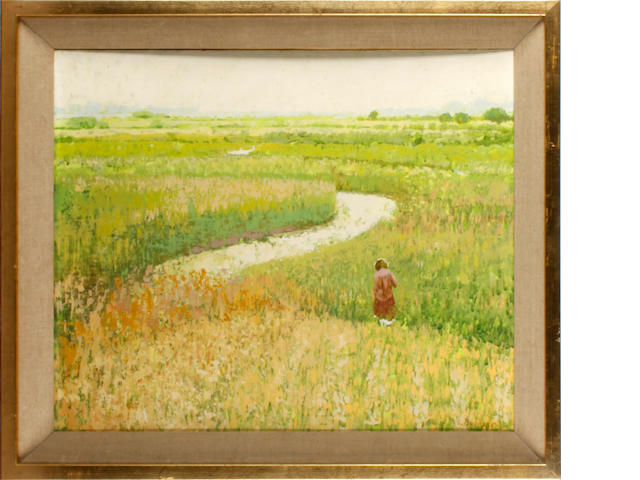 Lionel Bulmer (British, 1919-1992) Figure in Fenland