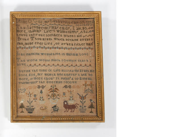 A George III needlework sampler, stitched with the date 21st October 1796