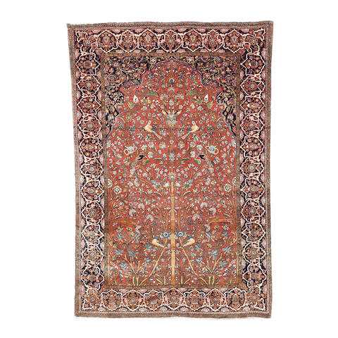 A Kurk Kashan prayer rug, Central Persia, 194cm x 135cm