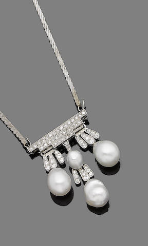 A pearl, cultured pearl and diamond fringe pendant/brooch necklace
