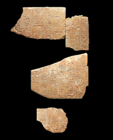 Four Egyptian limestone relief fragments for Wahibrenebahet 4