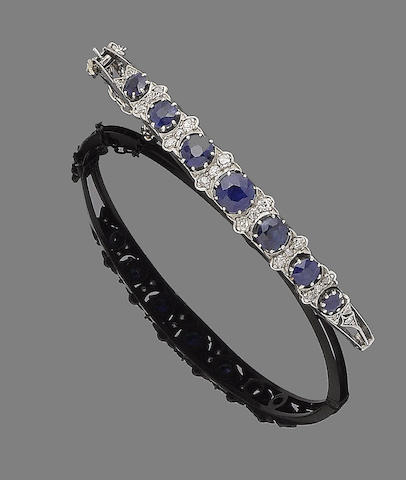 A sapphire and diamond hinged bangle