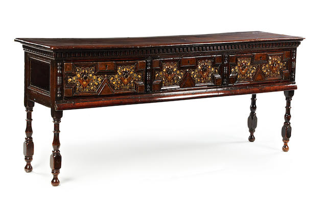 An oak and mother-of-pearl inlaid low dresser Parts Charles II, circa 1680