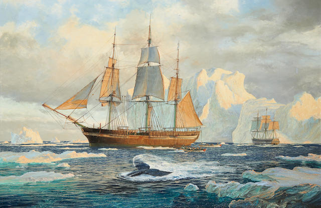 John Steven Dews (British, born 1949) The Hull whalers Isabella and Swan in Arctic waters