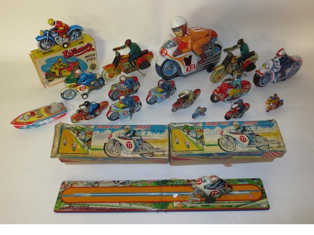 Assorted mainly Japanese tin-plate motorycle toys,