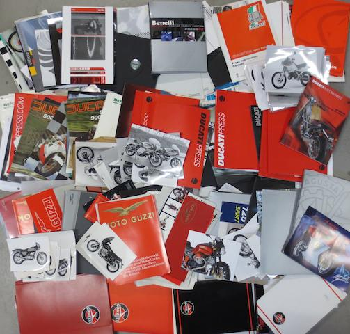 A quantity of press packs and ephemera relating to Italian motorcycles,