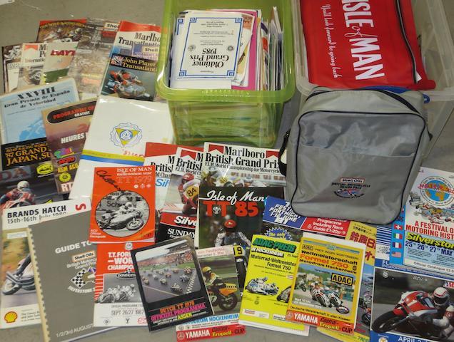 Assorted motorcycle race programmes and ephemera,