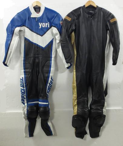 Two sets of Yori Kanda's motorcycle leathers,