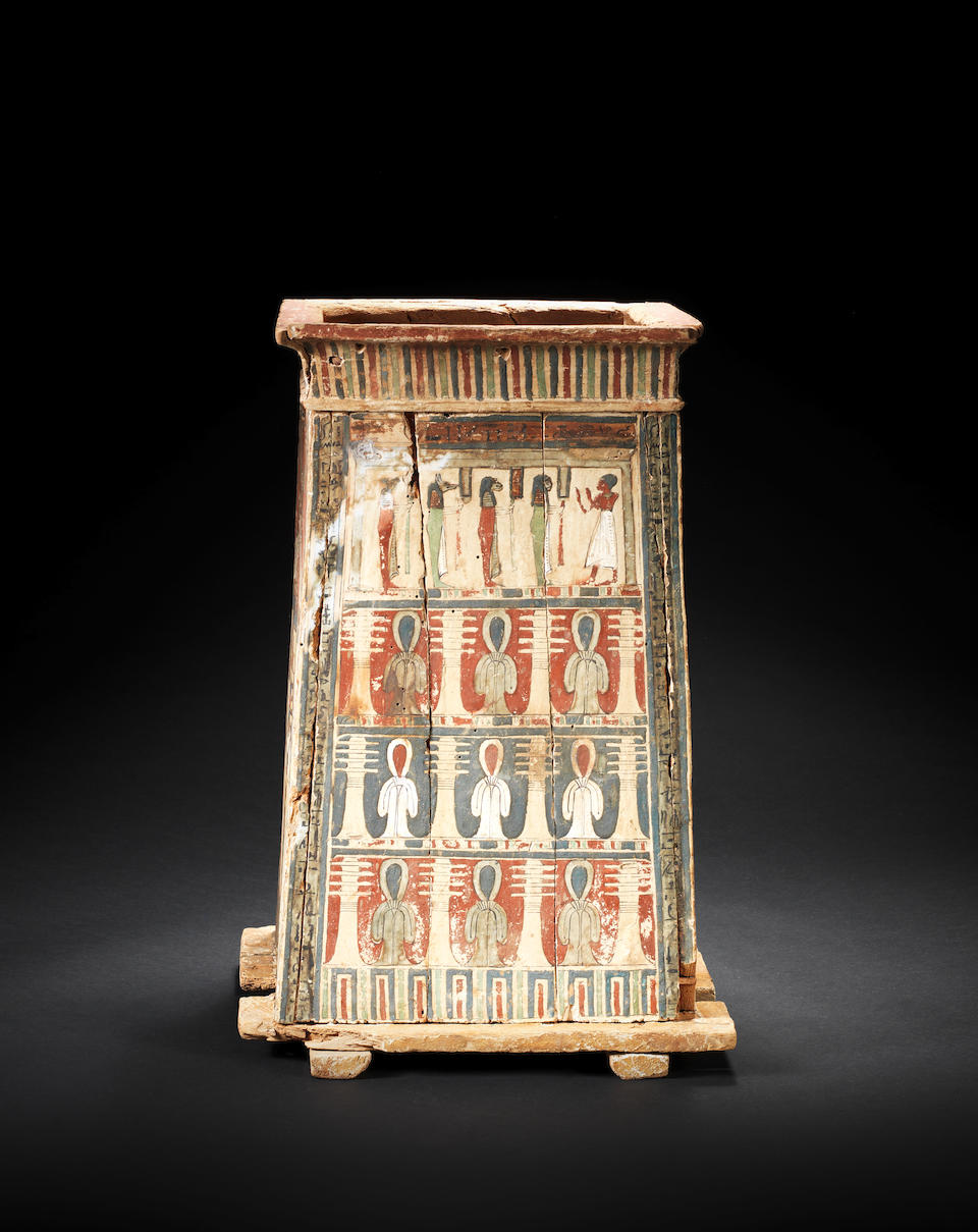 A large Egyptian wood canopic jar box for Pa-di-wesir
