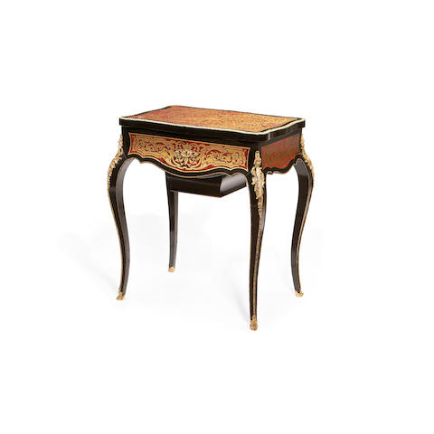 A French 19th century gilt metal mounted tortoiseshell and brass 'Boulle' marquetry ebonised table à ouvrage