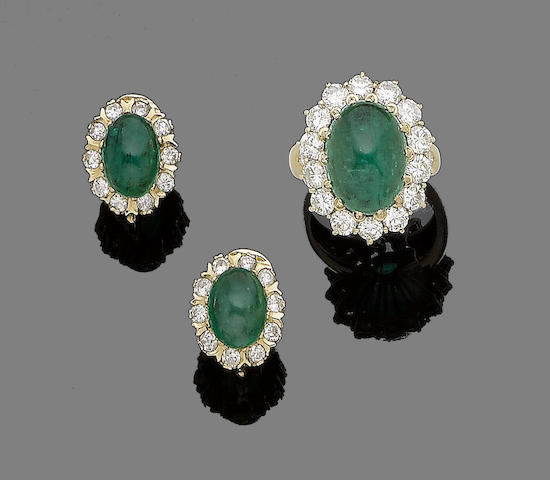 An emerald and diamond cluster ring and earclip suite (2)
