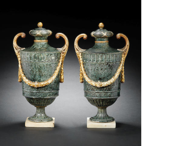 A pair of Wedgwood porphyry vases and covers, circa 1775