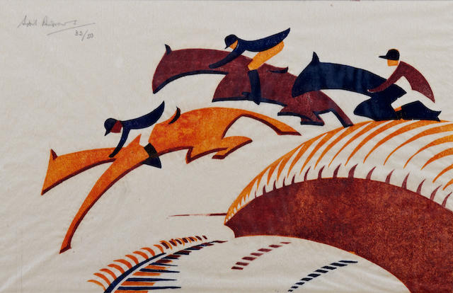 Sybil Andrews CPE (British/Canadian, 1898-1992) Steeplechasing (Coppel SA 10) Linocut printed in Chinese orange, alizarin purple madder and Prussian blue, 1930, on buff oriental laid tissue, signed, titled and numbered 32/50 in pencil, with margins, 175 x 272mm (6 7/8 x 10 3/4in)(B)