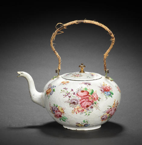 An important London enamel tea kettle and cover, mid 18th century