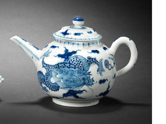A large Bow teapot and cover, circa 1757-60