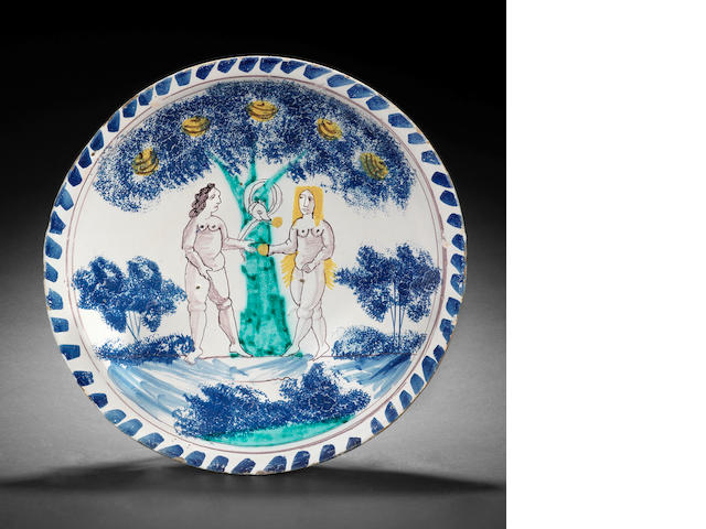An English delftware Adam and Eve charger, circa 1720