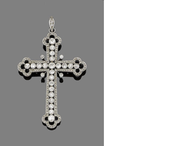 An early 20th century diamond cross pendant