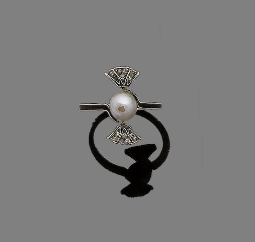 An enamel, pearl and diamond ring, by Lalique