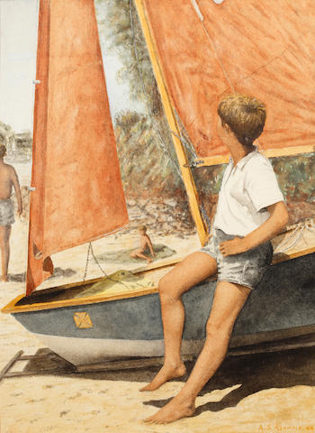 English School, 20th Century Boy resting on a beached dinghy