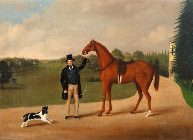 19th Century English School A gentleman with his favourite hunter in a landscape