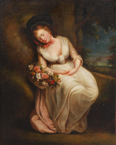 After George Morland, 19th Century The Flower Gatherer Asleep