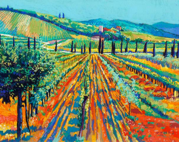 Godfrey Tonks (British, born 1948) Vineyard, Tuscany