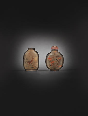 Two inside-painted crystal snuff bottles One bottle signed Meng Zishou, cyclically dated gengxu year (AD 1910); the other signed Shouben, cyclically dated jiachen year (AD 1904)